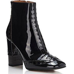 Perry Patent Leather Square Toe Ankle Heel Boots